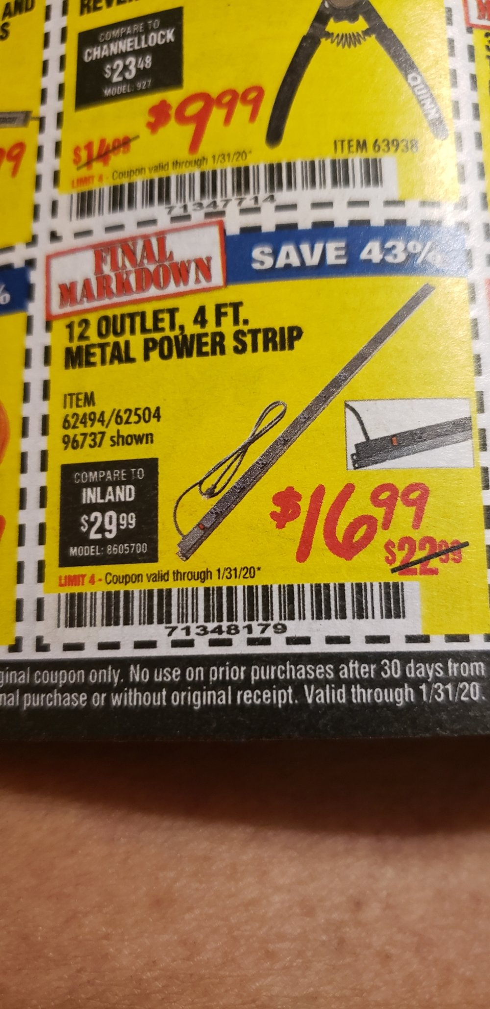 Harbor Freight Coupon, HF Coupons - 12 Outlet 4 Ft. Metal Power Strip