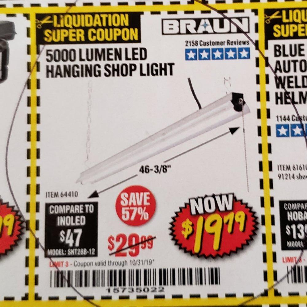 Harbor Freight Coupon, HF Coupons - 5000 Lumen Led Hanging Shop Light