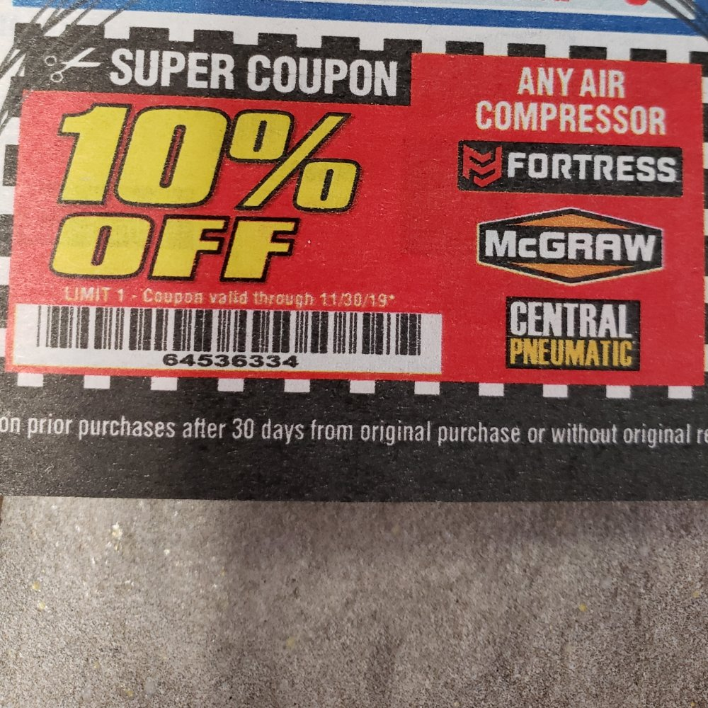 Harbor Freight Coupon, HF Coupons - 10% any air compressor