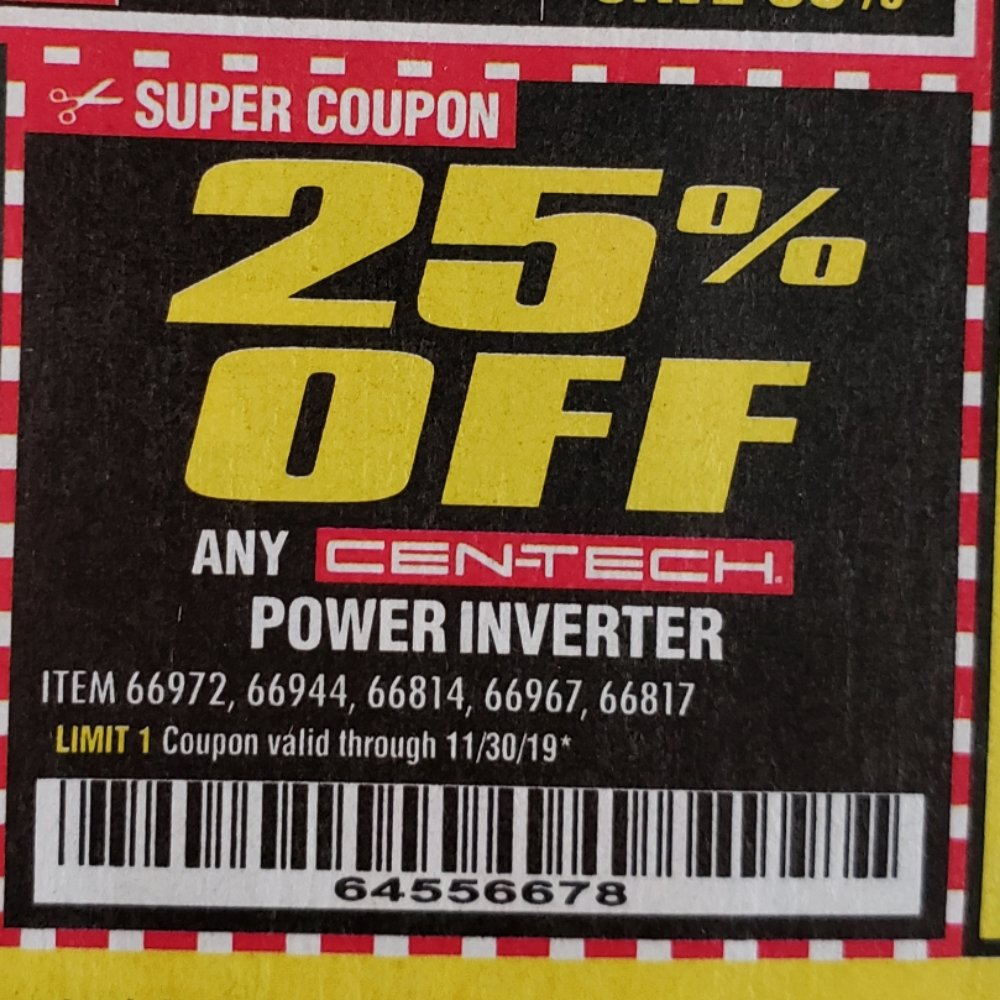 Harbor Freight Coupon, HF Coupons - 25% off Cen-tech Power Inverter