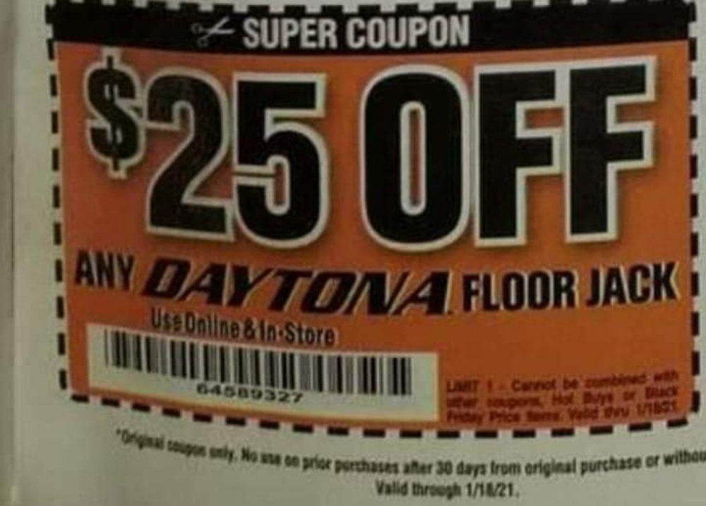 Harbor Freight Coupon, HF Coupons - $25 off any Daytona floor jack