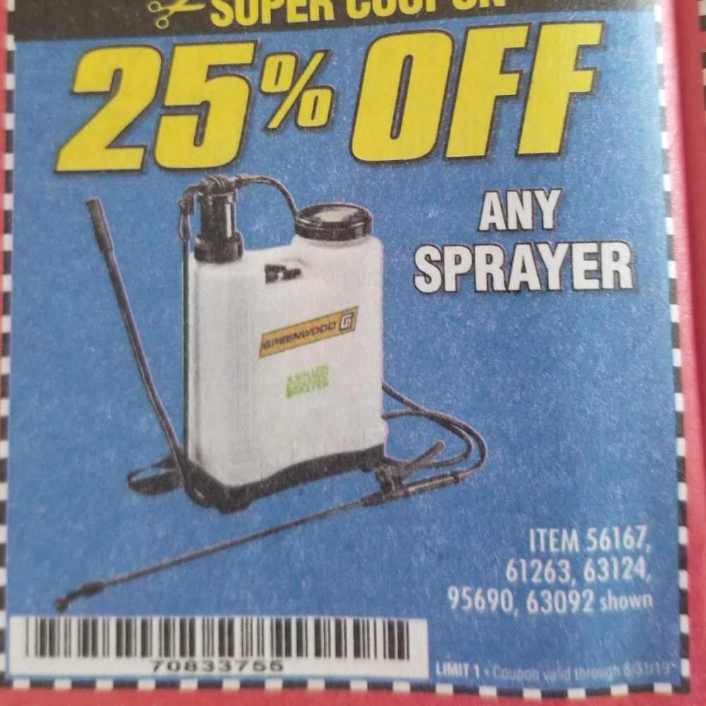Harbor Freight Coupon, HF Coupons - 25% off any sprayer