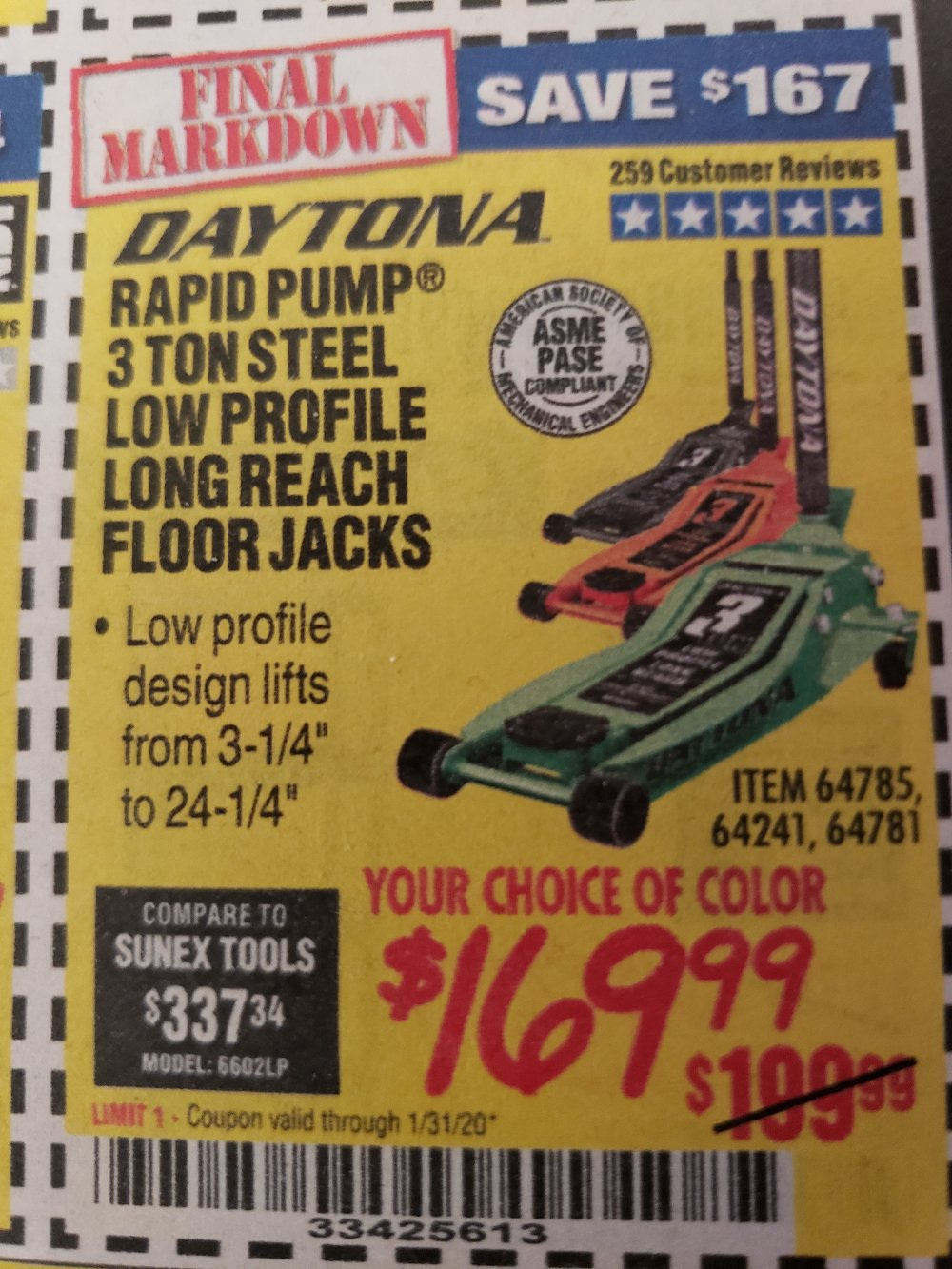 Harbor Freight Coupon, HF Coupons - Daytona 3 Ton Low Profile / Long Reach Floor Jack