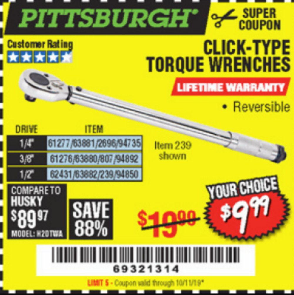Harbor Freight Coupon, HF Coupons - Click-Type Torque Wrenches