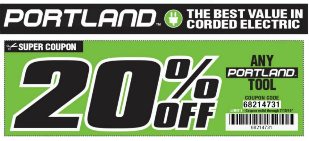 Harbor Freight Coupon, HF Coupons - 20% Off Portland Tools