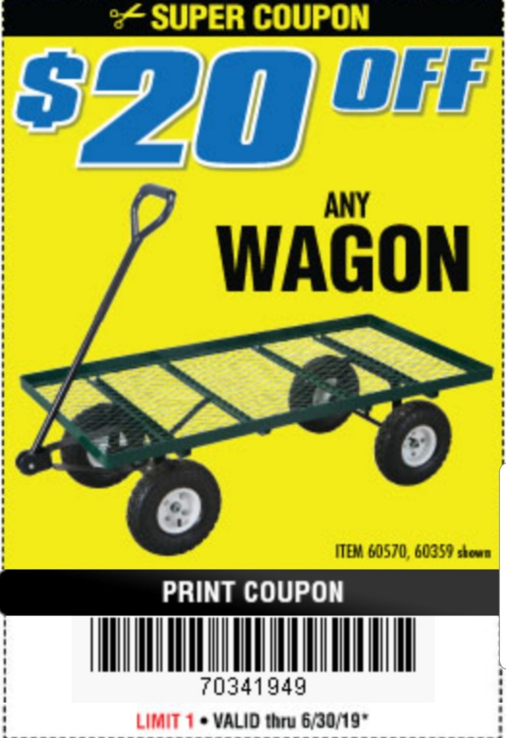 Harbor Freight Coupon, HF Coupons - Bigfoot Panel Wagon