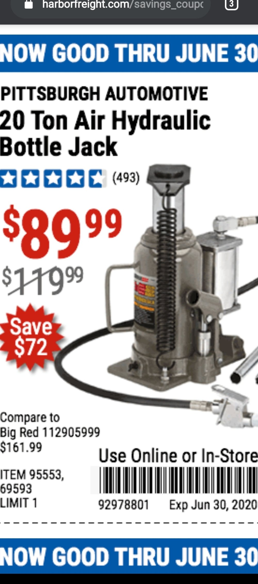Harbor Freight Coupon, HF Coupons - 20 Ton Air/hydraulic Bottle Jack