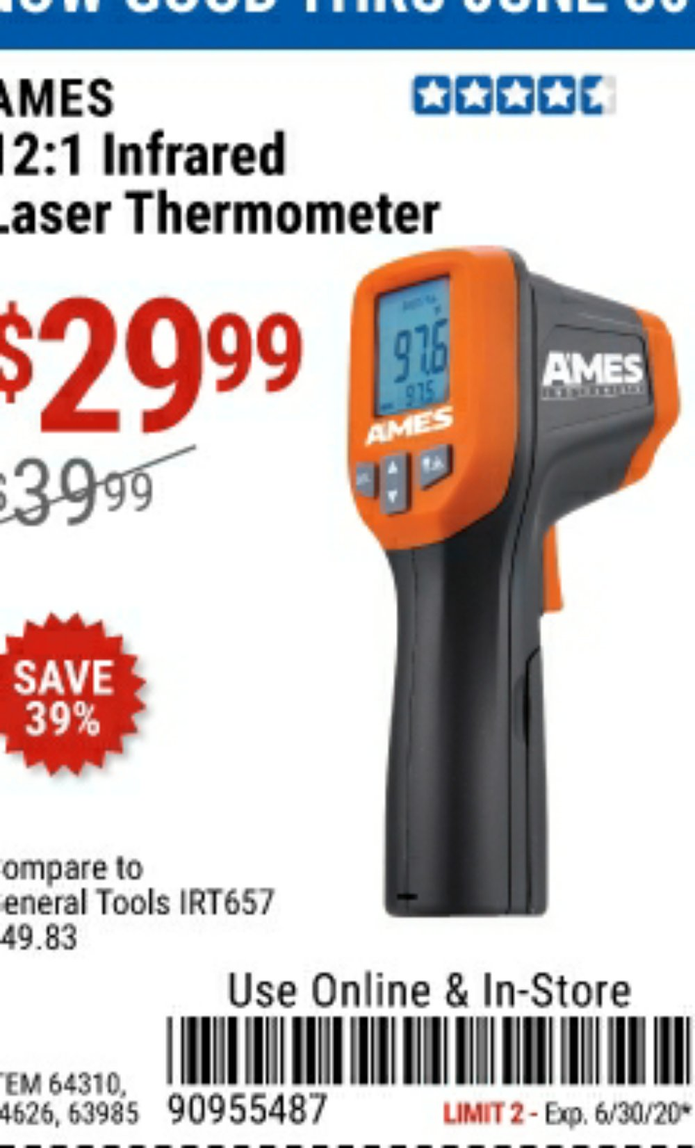 Harbor Freight Coupon, HF Coupons - 12:1 Infrared Laser Thermometer