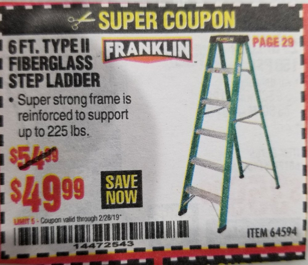 Harbor Freight Coupon, HF Coupons - 6 Ft. Type Ii Fiberglass Step Ladder