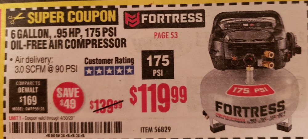 Harbor Freight Coupon, HF Coupons - Fortress 6gal Air Compressor