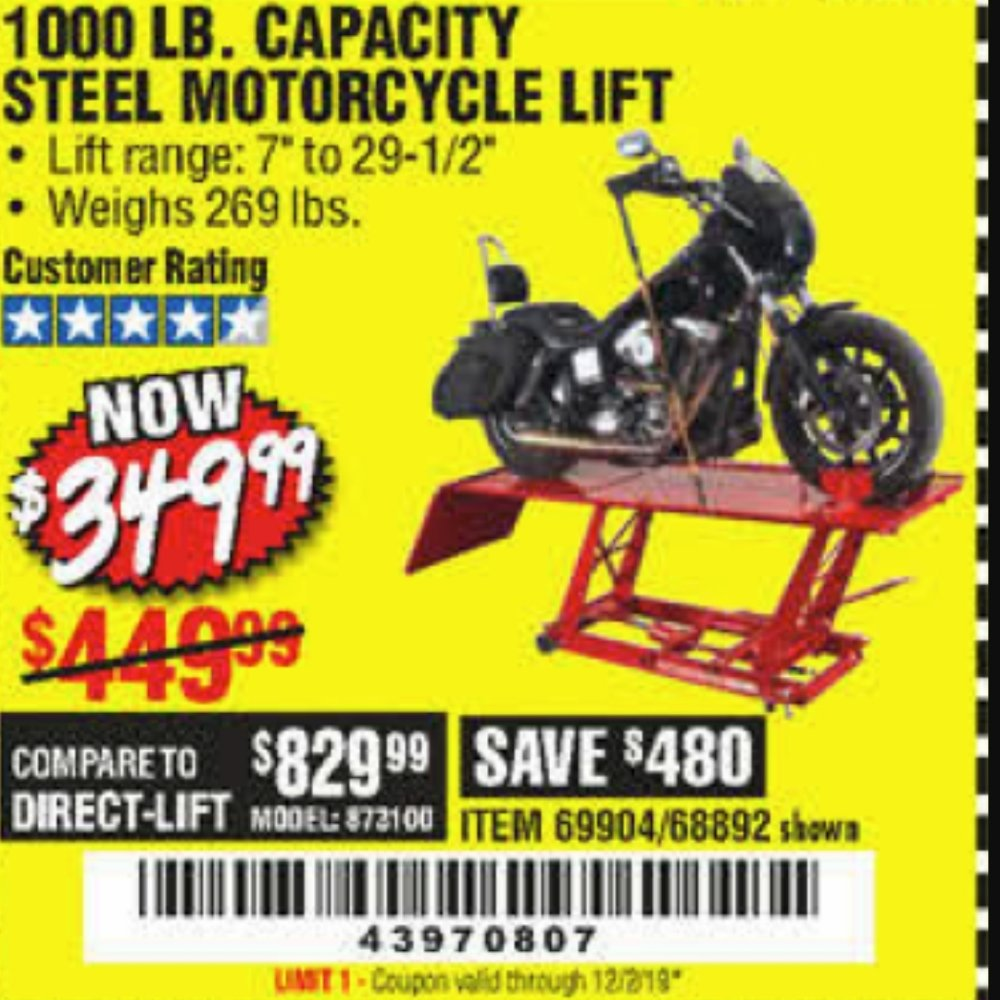 Harbor Freight Coupon, HF Coupons - 1000 Lb. Capacity Motorcycle Lift
