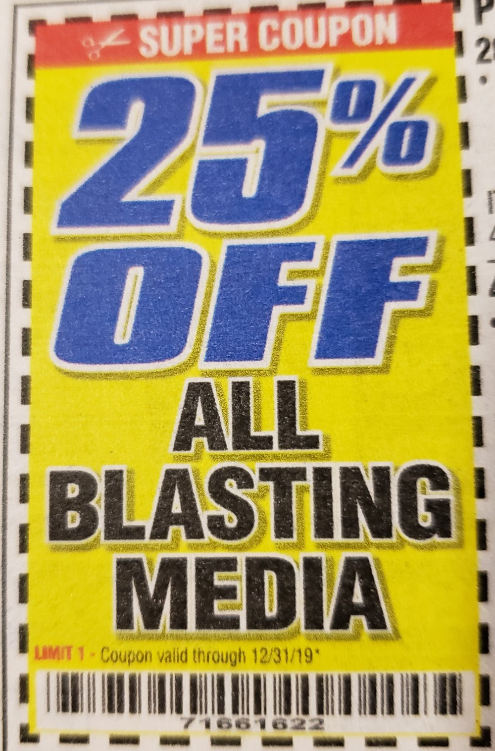 Harbor Freight Coupon, HF Coupons - 25% off all blasting media