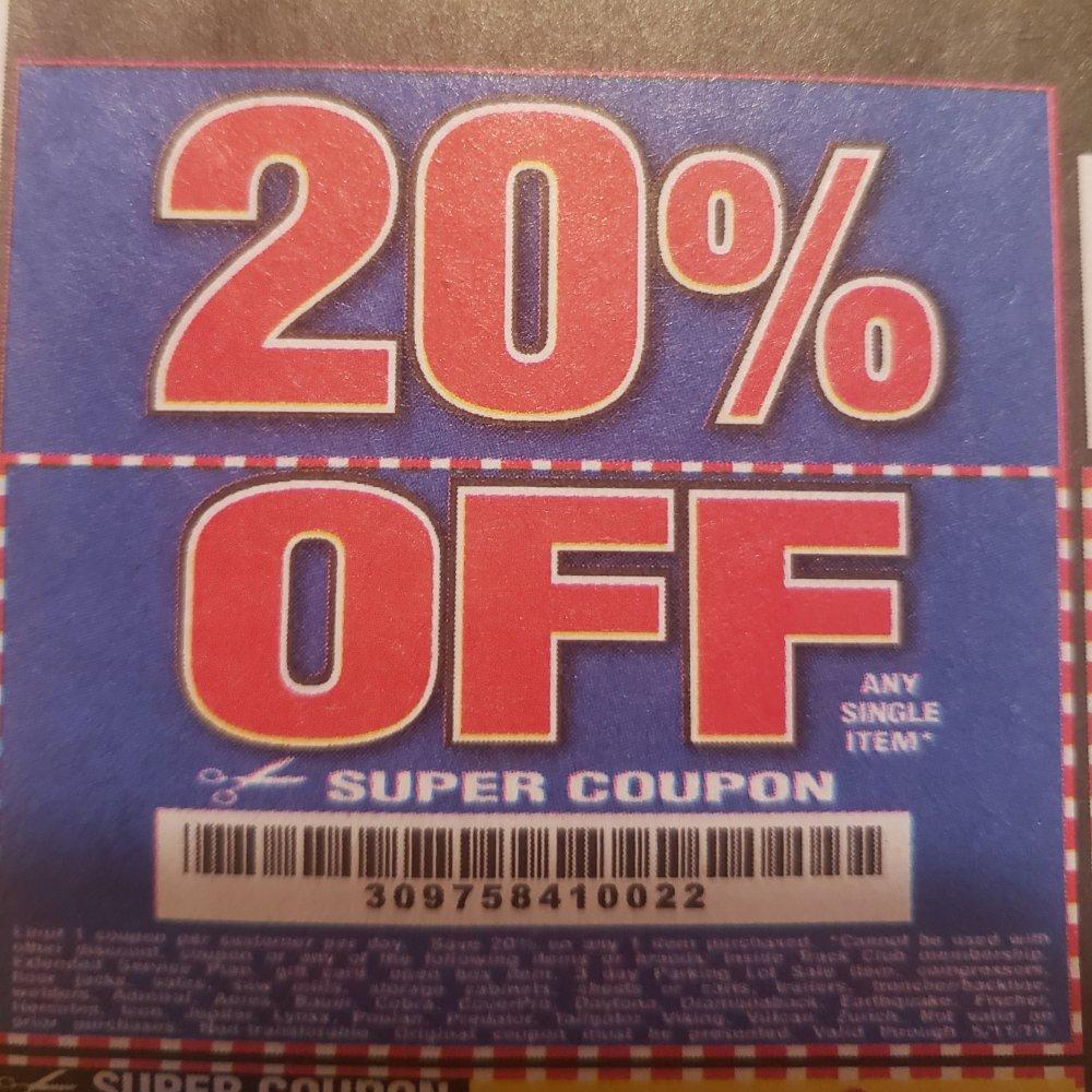 Harbor Freight Coupon, HF Coupons - 20% off coupon