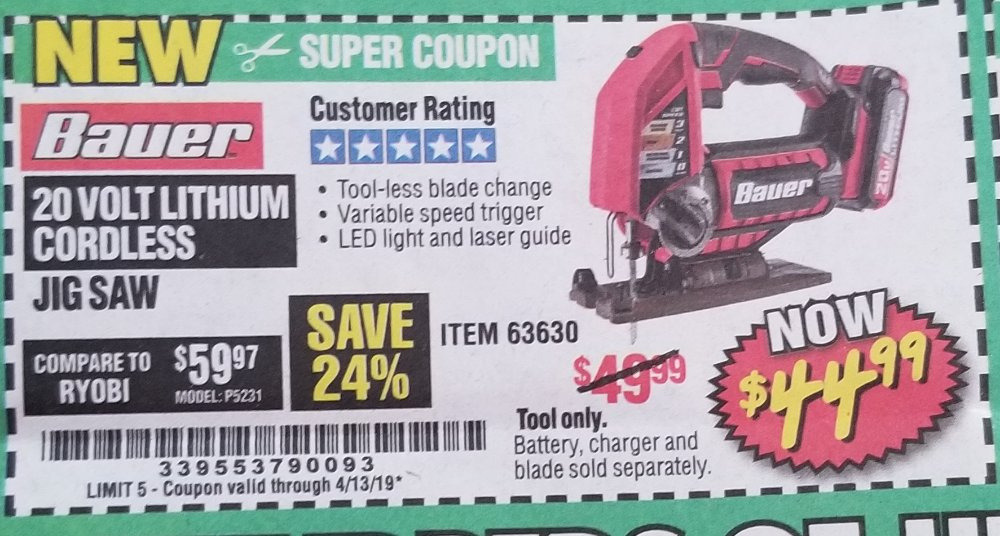 Harbor Freight Coupon, HF Coupons - 20 Volt Cordless Jig Saw