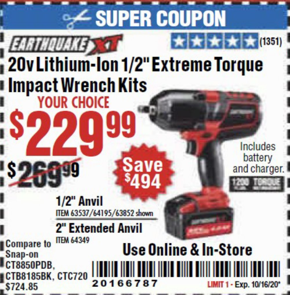 Harbor Freight Coupon, HF Coupons - Earthquake Xt 20 Volt Cordless Extreme Torque 1/2