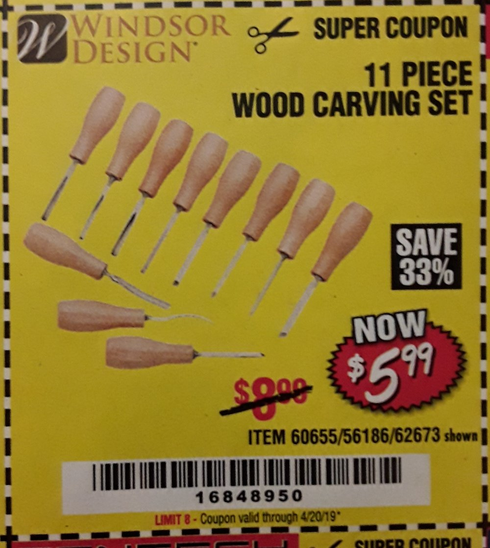 Harbor Freight Coupon, HF Coupons - 11 Piece Wood Carving Set