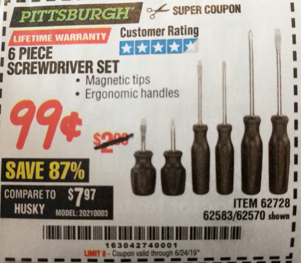 Harbor Freight Coupon, HF Coupons - 6 Piece Screwdriver Set