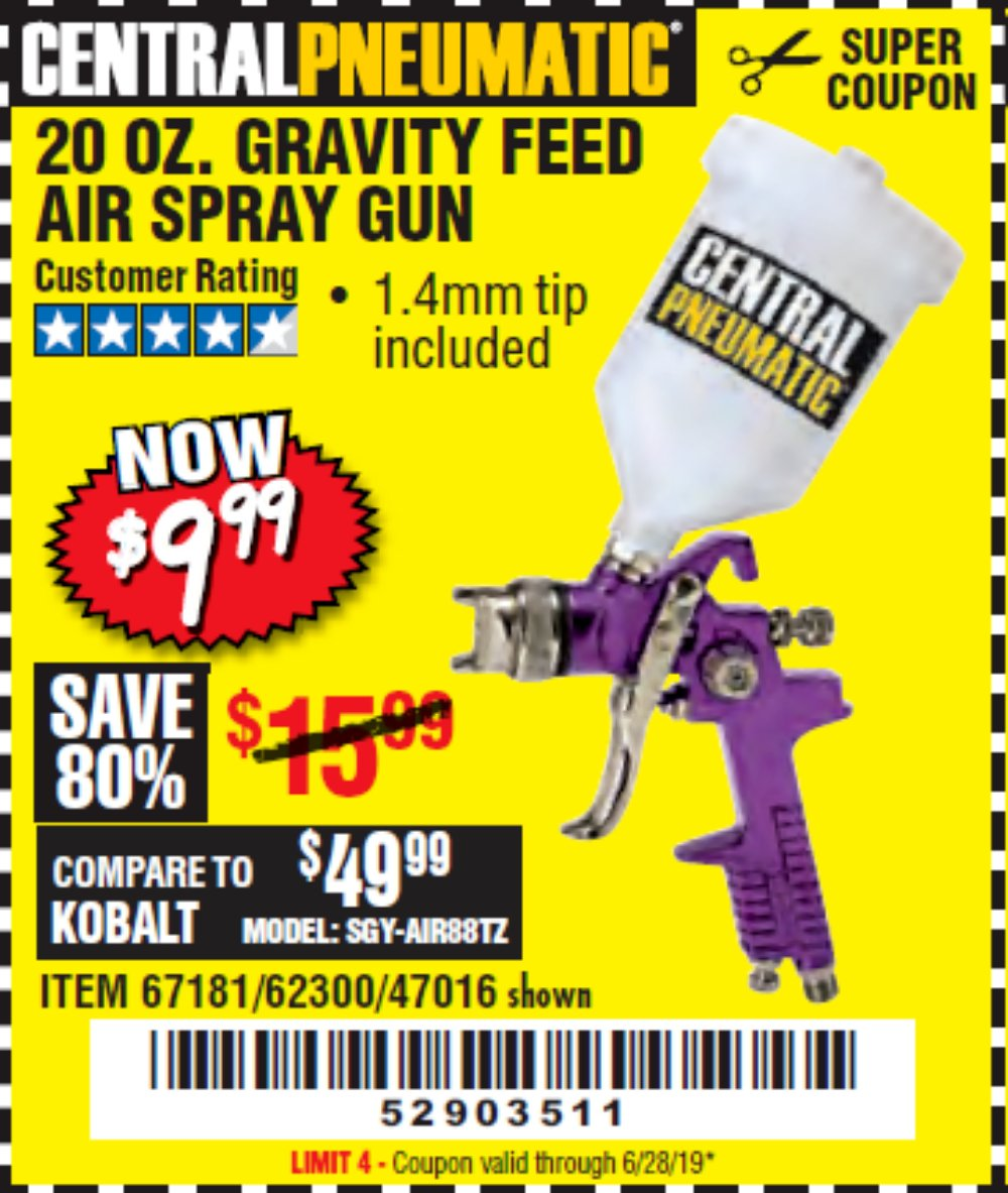 Harbor Freight Coupon, HF Coupons - 20 Oz. Gravity Feed Spray Gun