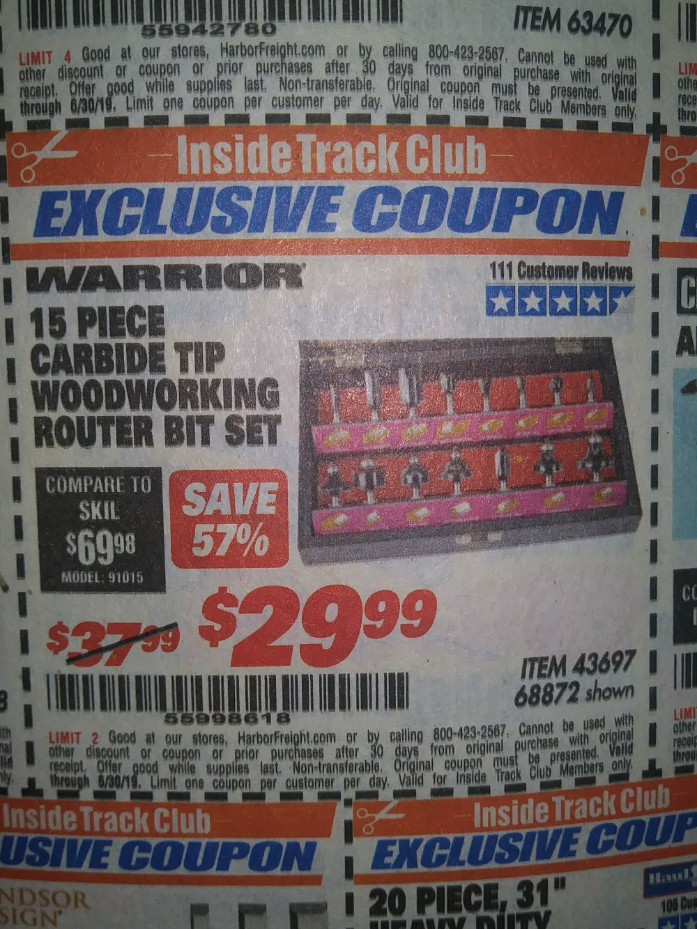 Harbor Freight Coupon, HF Coupons - 15 Piece Carbide Tip Woodworking Router Bit Set