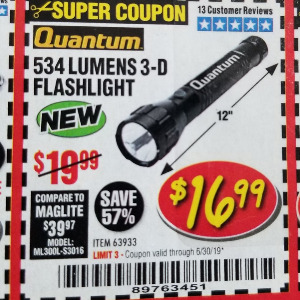 Harbor Freight Coupon, HF Coupons - 534 Lumens 3-d Flashlight