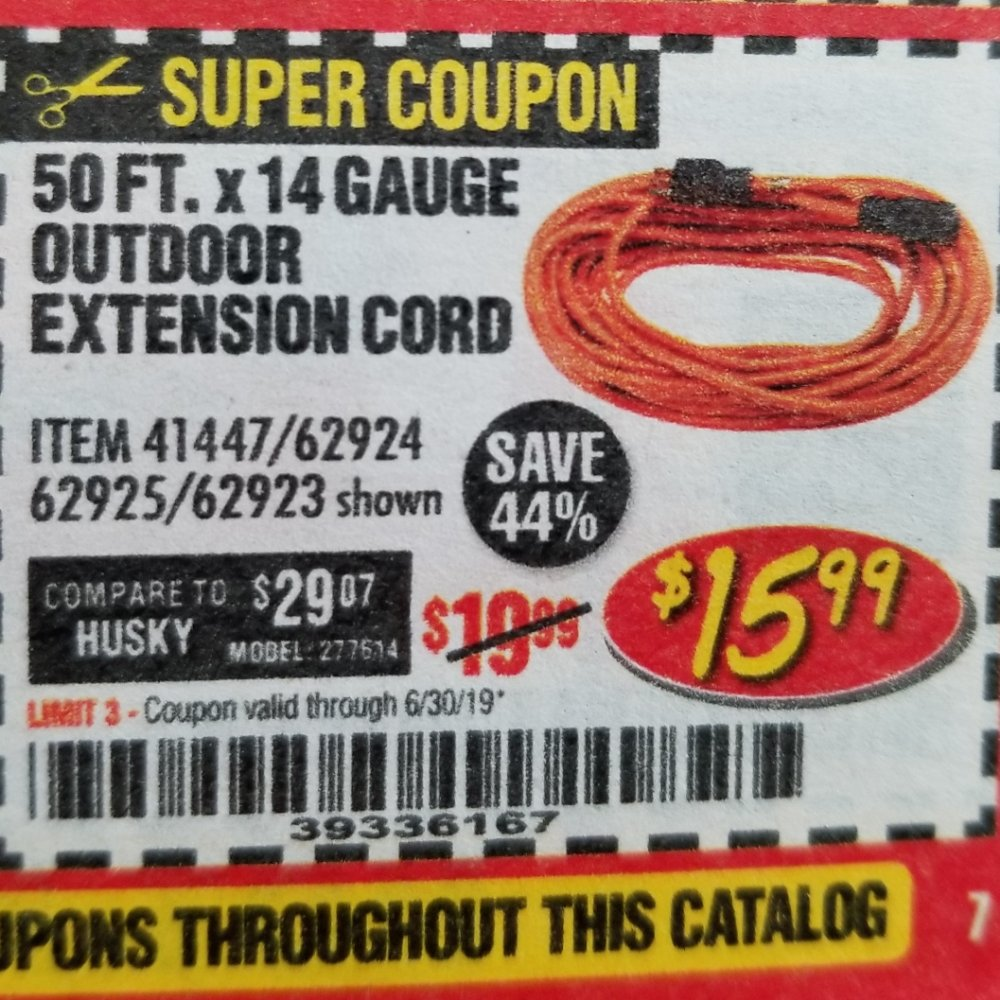 Harbor Freight Coupon, HF Coupons - 50ft.x14gauge Outdoor Extension Cord