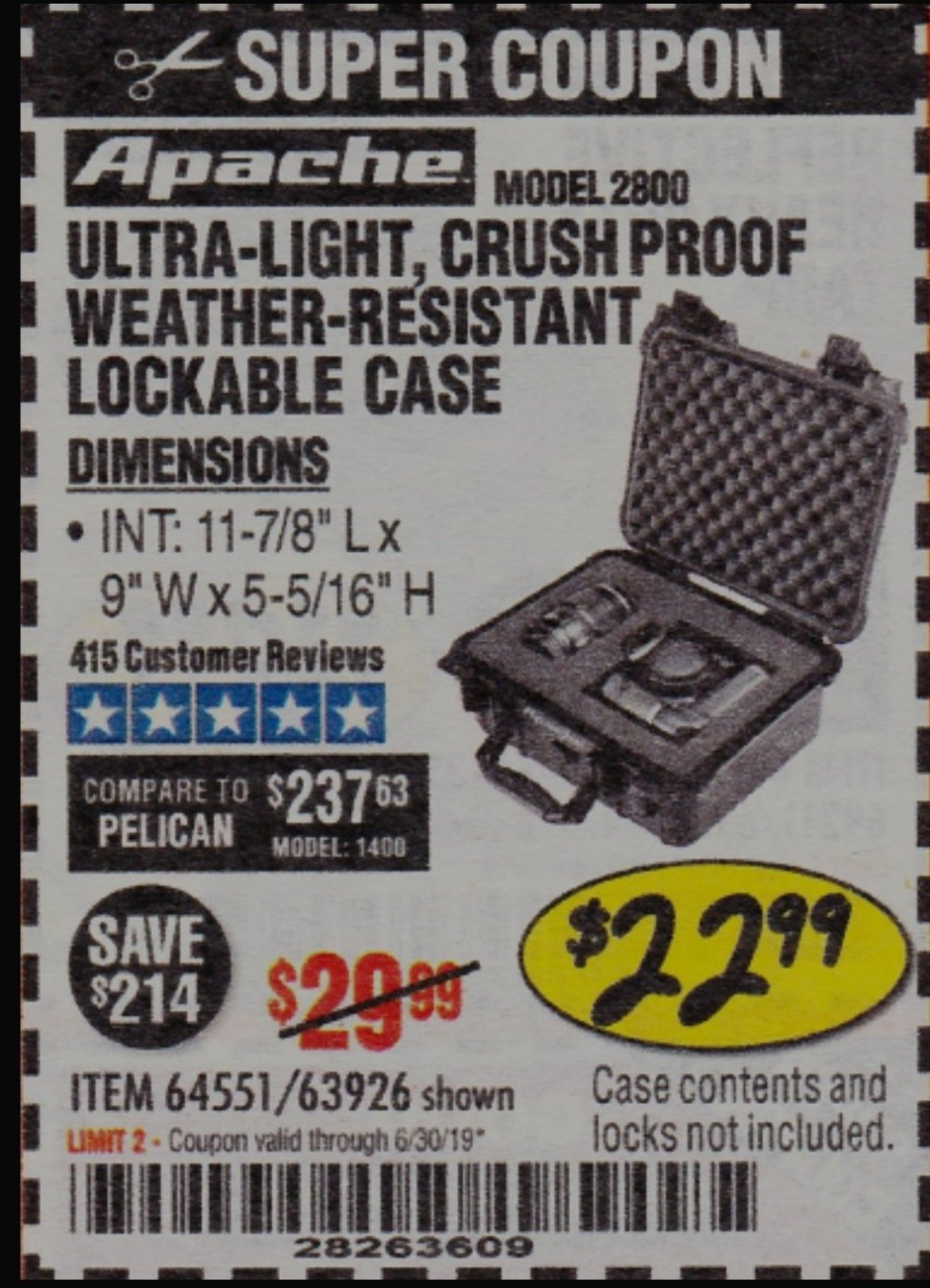 Harbor Freight Coupon, HF Coupons - Apache 2800 Case