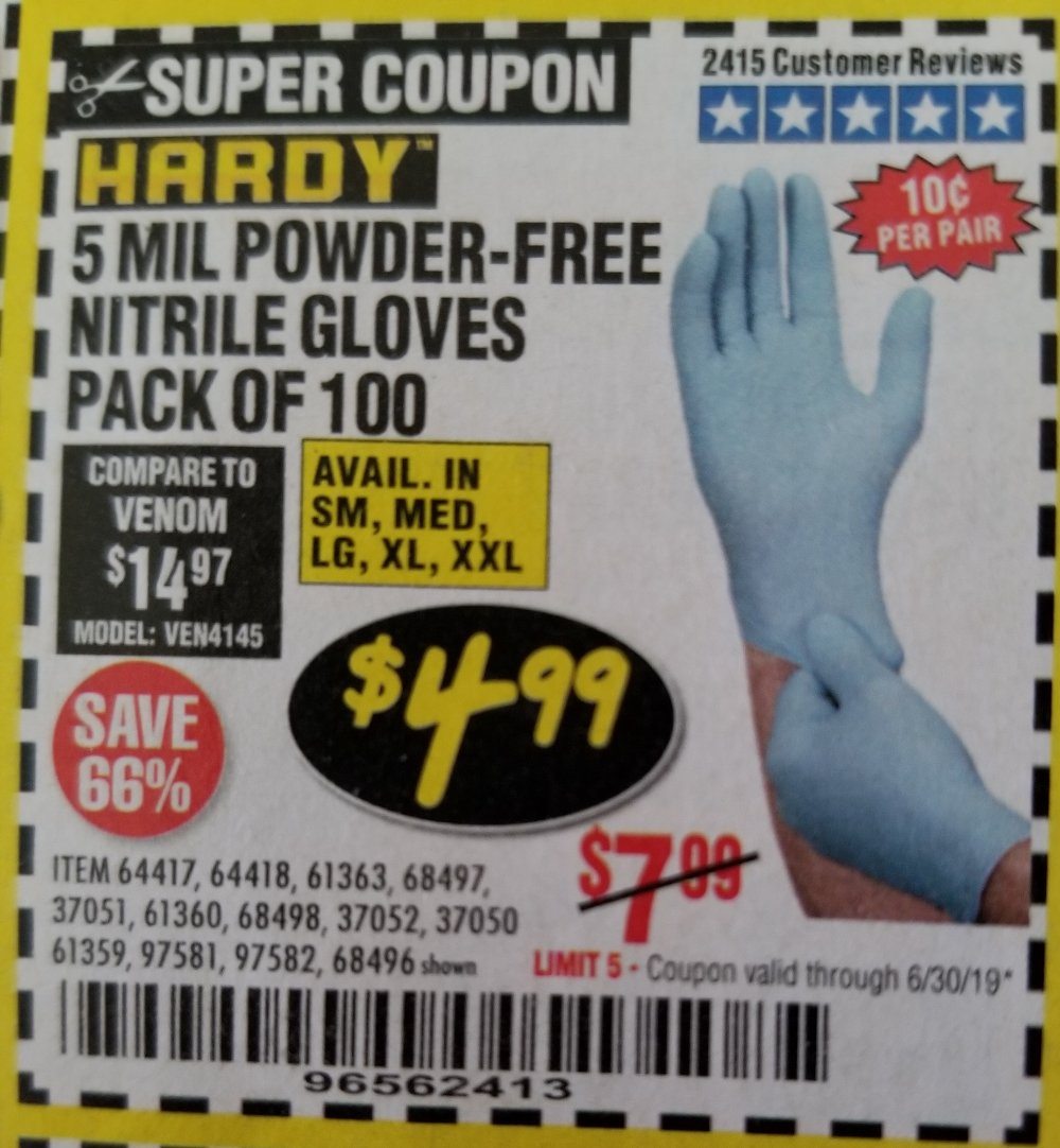 Harbor Freight Coupon, HF Coupons - Powder-free Nitrile Gloves Pack Of 100 (5 Mil)
