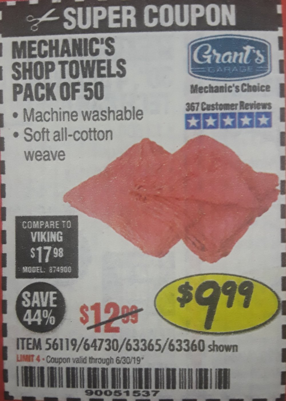 Harbor Freight Coupon, HF Coupons - Mechanics Shop Towels