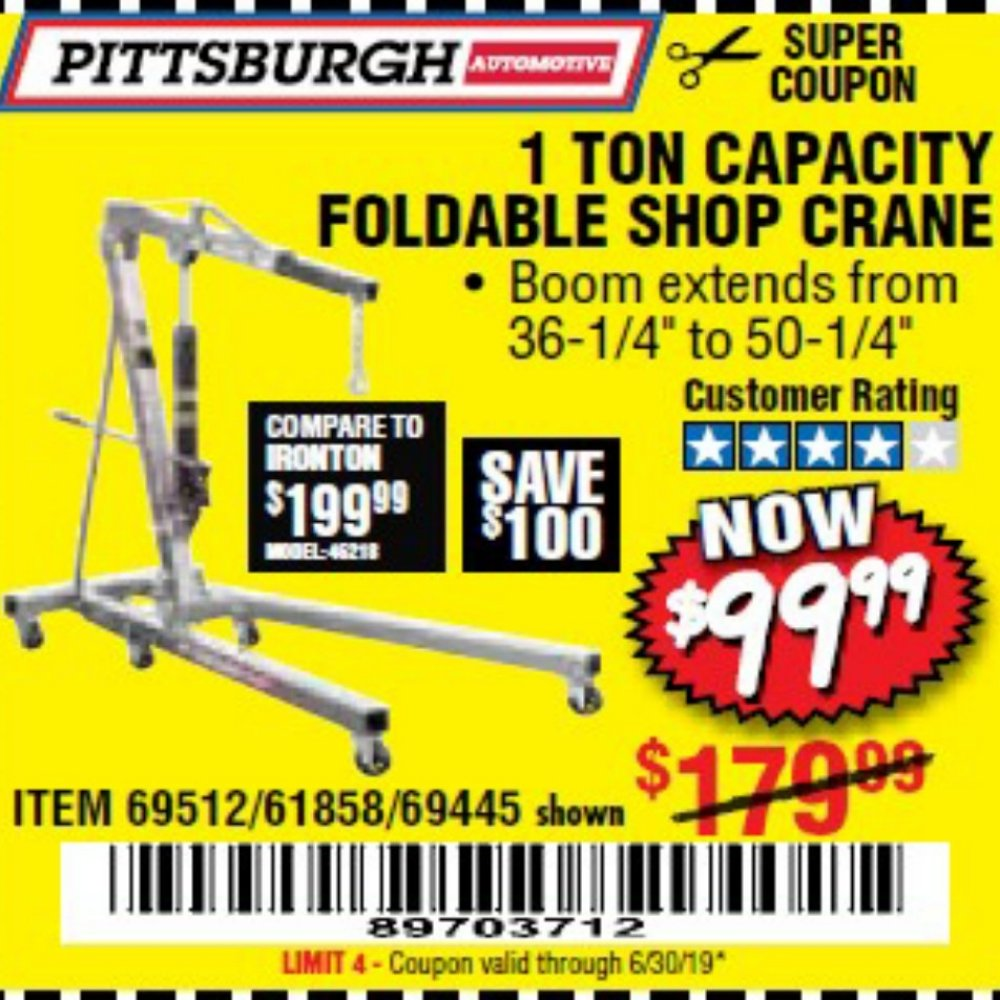 Harbor Freight Coupon, HF Coupons - 1 Ton Capacity Foldable Shop Crane