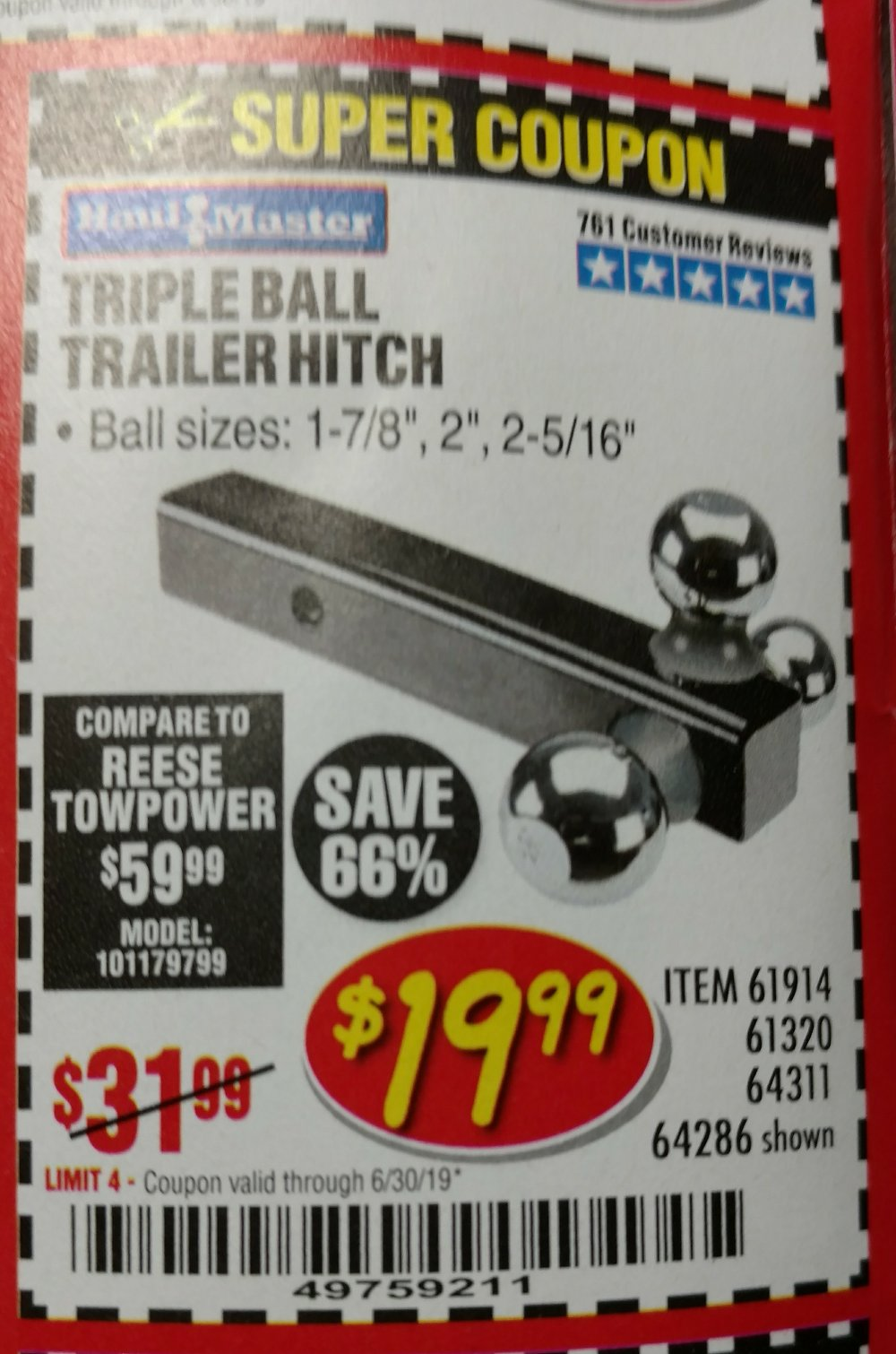 Harbor Freight Coupon, HF Coupons - Triple Ball Trailer Hitch