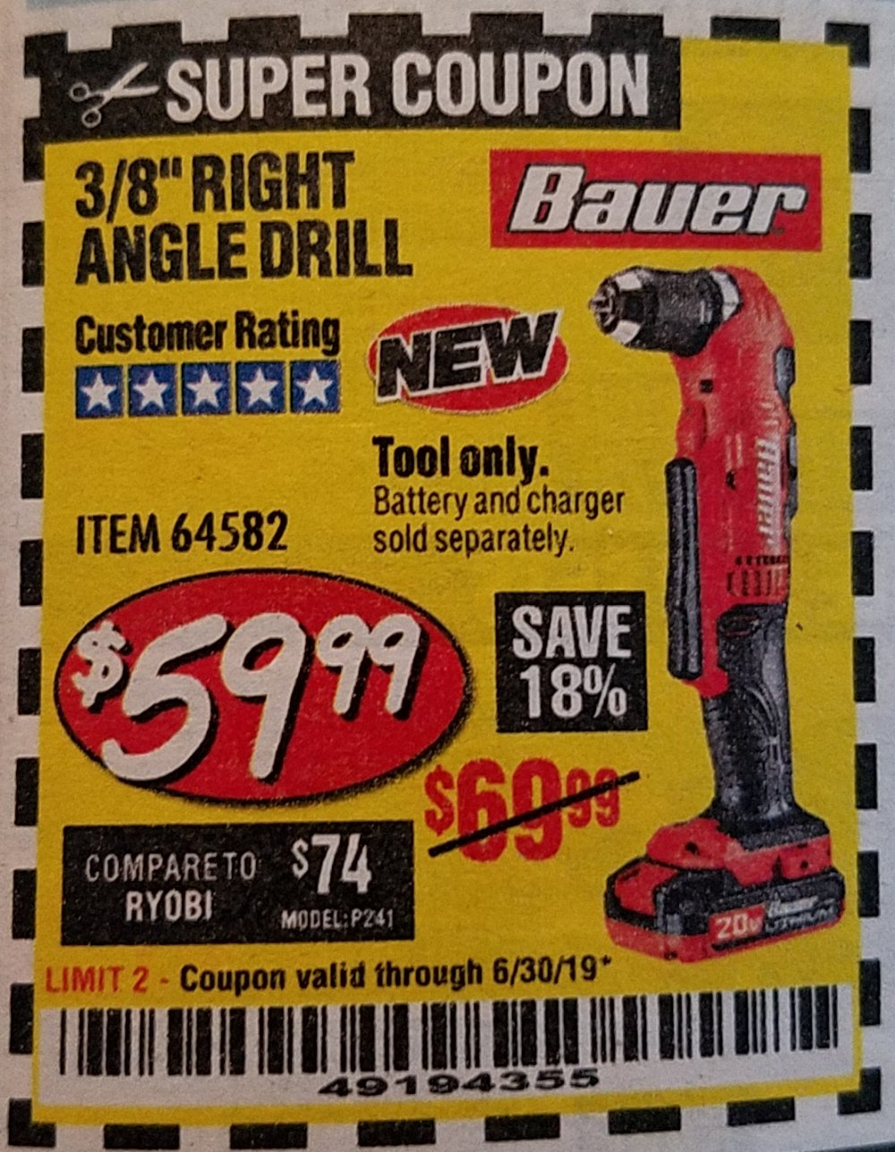 Harbor Freight Coupon, HF Coupons - Bauer 20 Volt Hypermax Lithium Cordless 3/8