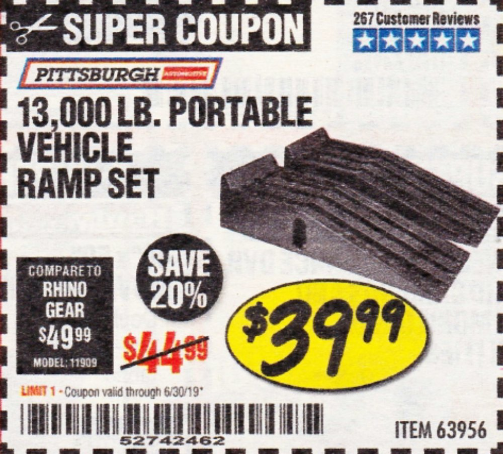 Harbor Freight Coupon, HF Coupons - 2 Piece Auto Ramp Sets Polypropylene