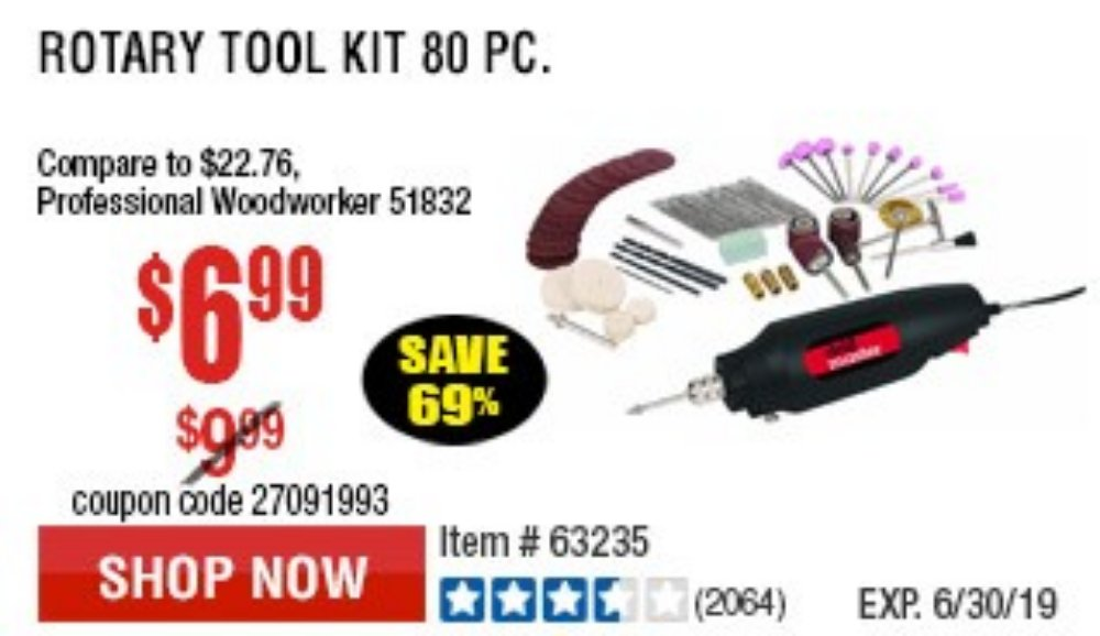 Harbor Freight Coupon, HF Coupons - 80 Piece Rotary Tool Kit