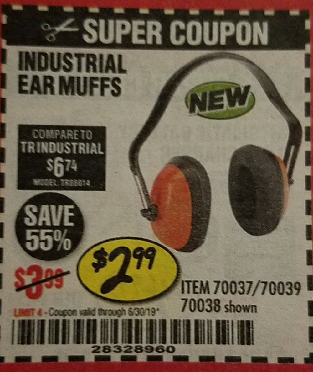 Harbor Freight Coupon, HF Coupons - Industrial Ear Muffs