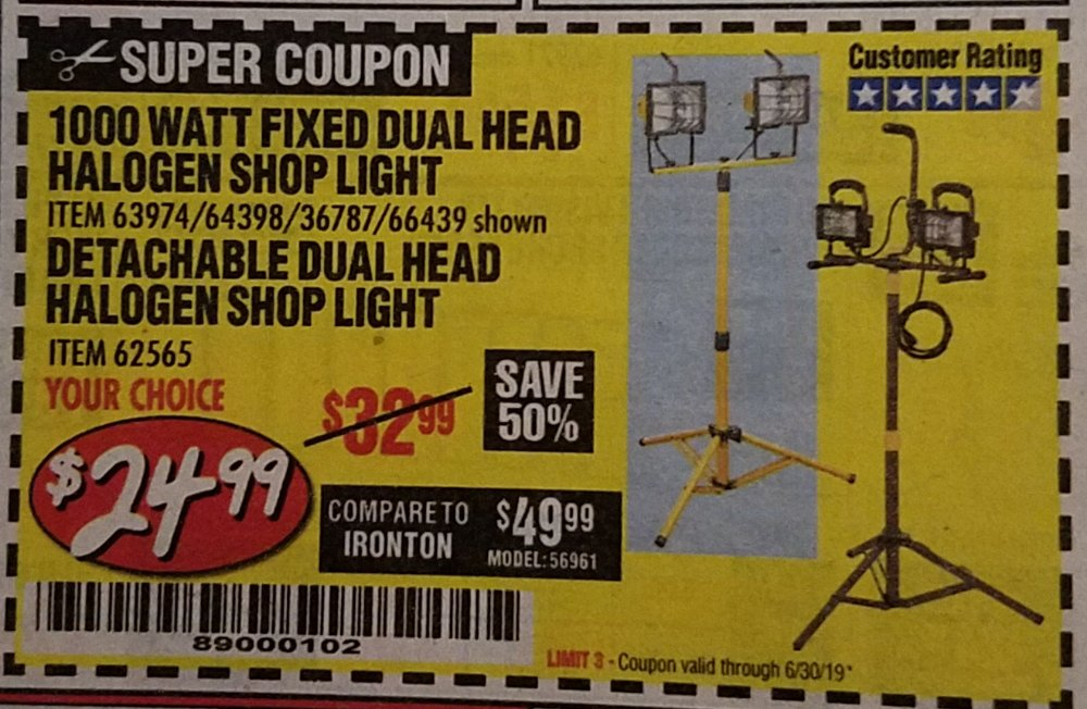 Harbor Freight Coupon, HF Coupons - Detachable Dual Head Halogen Shop Light