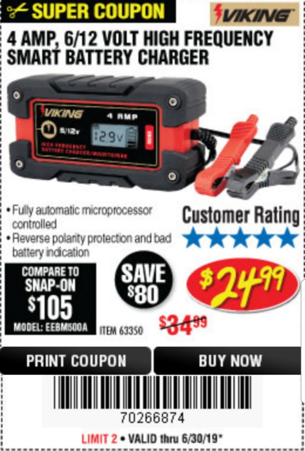 Harbor Freight Coupon, HF Coupons - 4 Amp Fully Automatic Microprocessor Controlled Battery Charger/maintainer