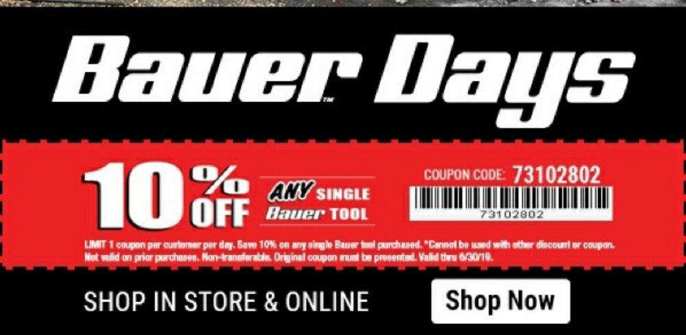 Harbor Freight Coupon, HF Coupons - 10% off FOR ANY SIGNLE BAUER TOOL