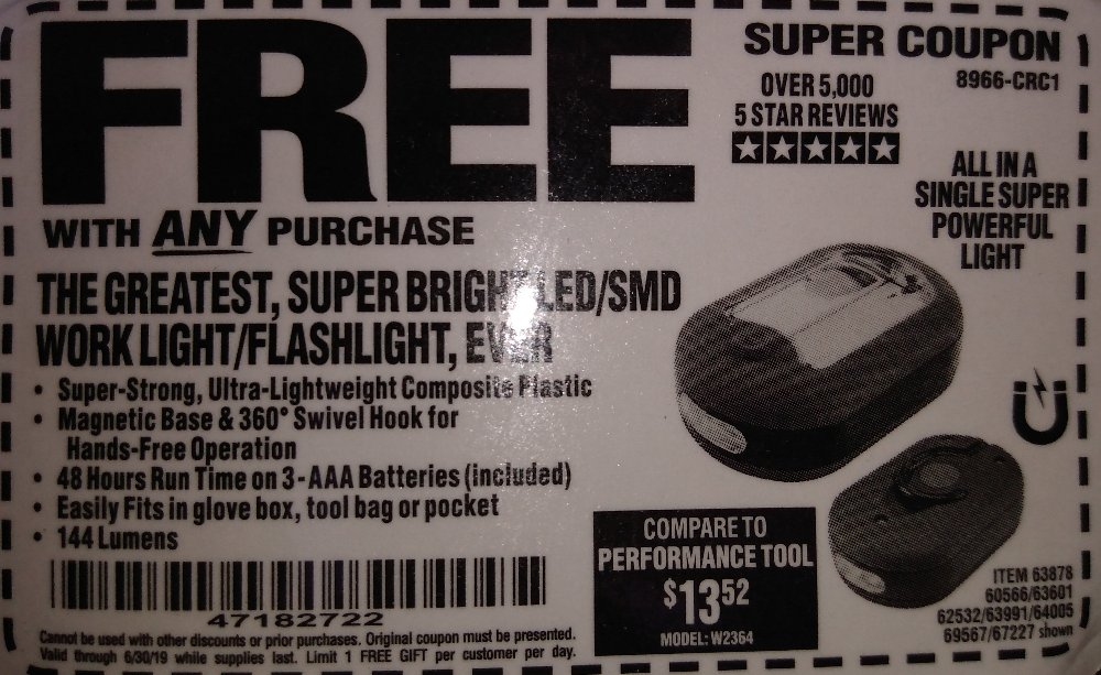 Harbor Freight Coupon, HF Coupons - Led Portable Worklight/flashlight