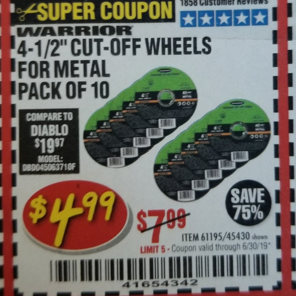 Harbor Freight Coupon, HF Coupons - Warrior 4-1/2