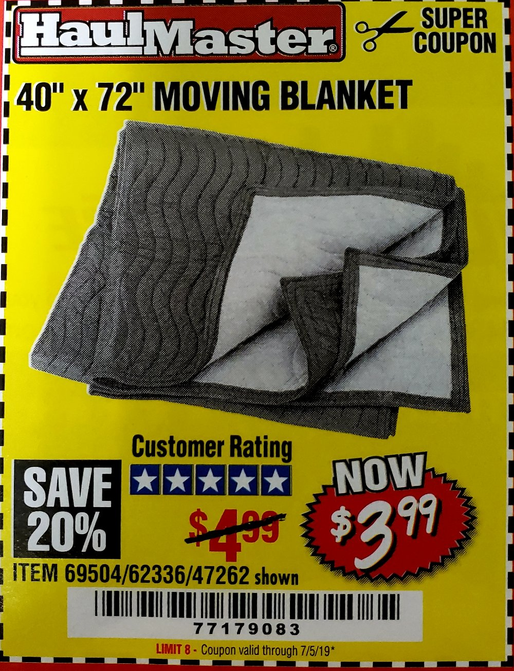 Harbor Freight Coupon, HF Coupons - 40X72 MOVING BLANKET