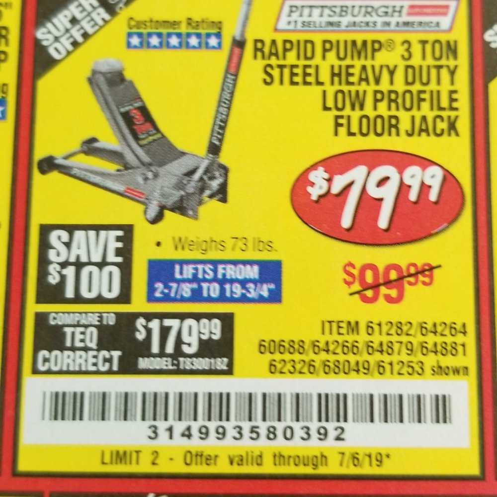 Harbor Freight Coupon, HF Coupons - Rapid Pump 3 Ton Low Profile Heavy Duty Steel Floor Jack