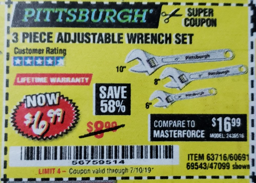 Harbor Freight Coupon, HF Coupons - 3 Piece Adjustable Wrench Set