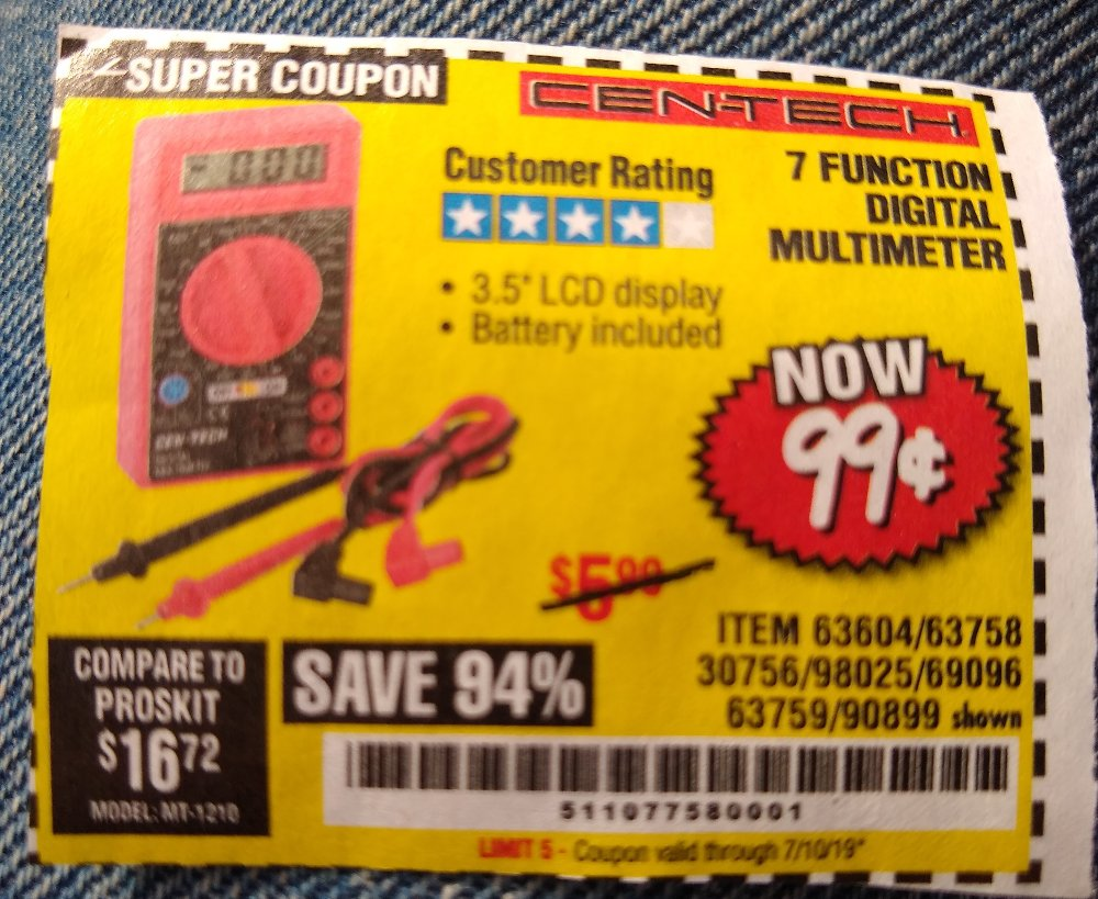 Harbor Freight Coupon, HF Coupons - 7 Function Digital Multimeter