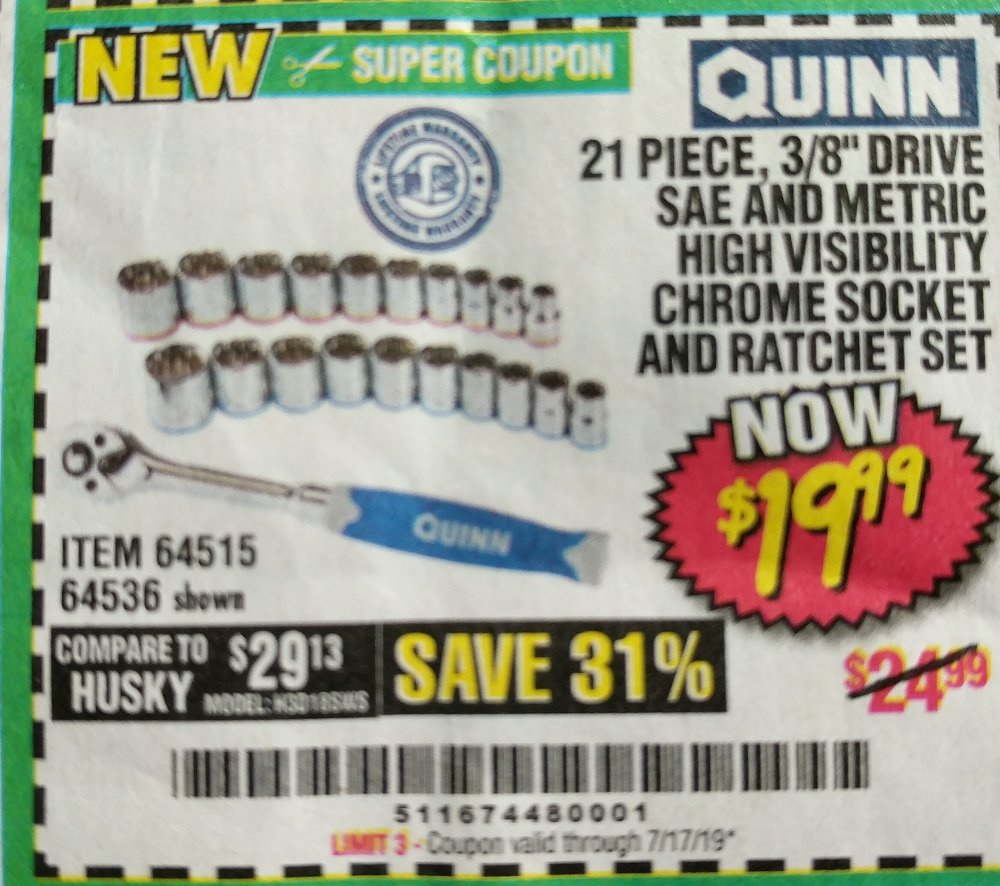 Harbor Freight Coupon, HF Coupons - Quinn 21 Piece, 3/8