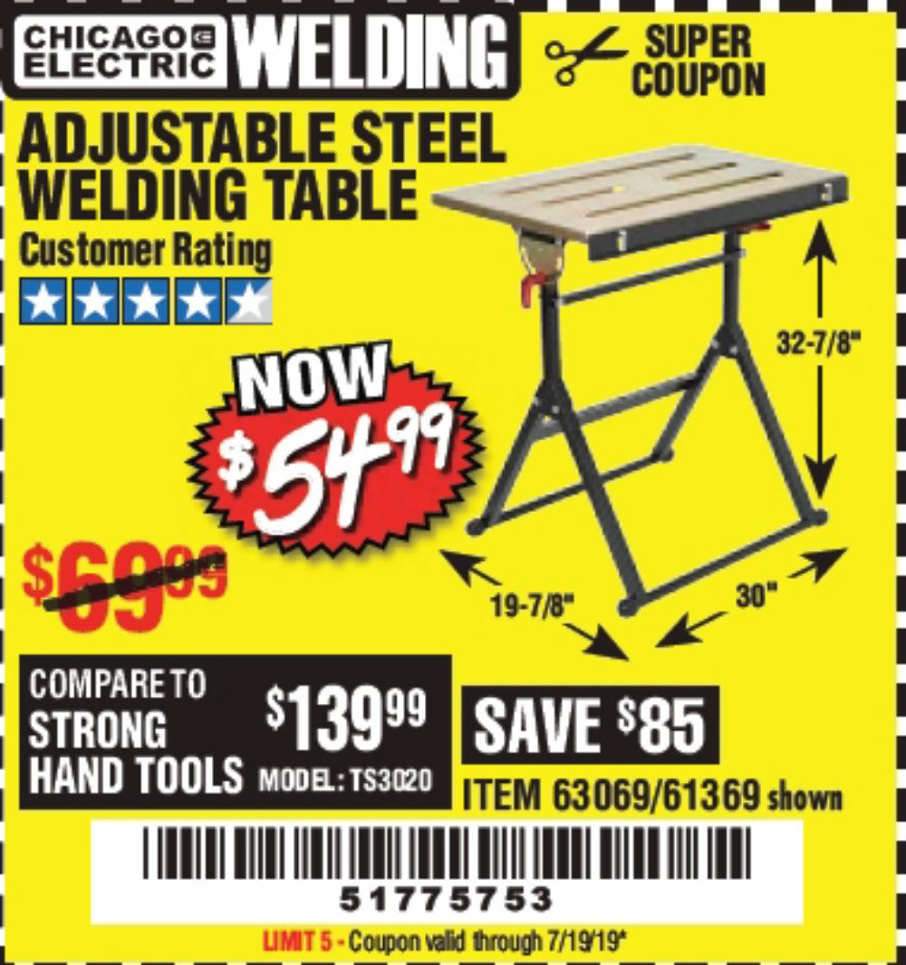 Harbor Freight Coupon, HF Coupons - Adjustable Steel Welding Table