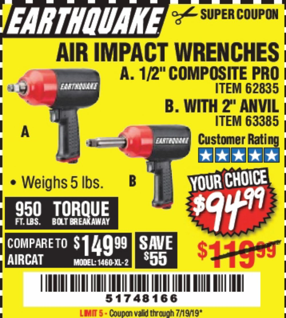 Harbor Freight Coupon, HF Coupons - Earthquake 1/2