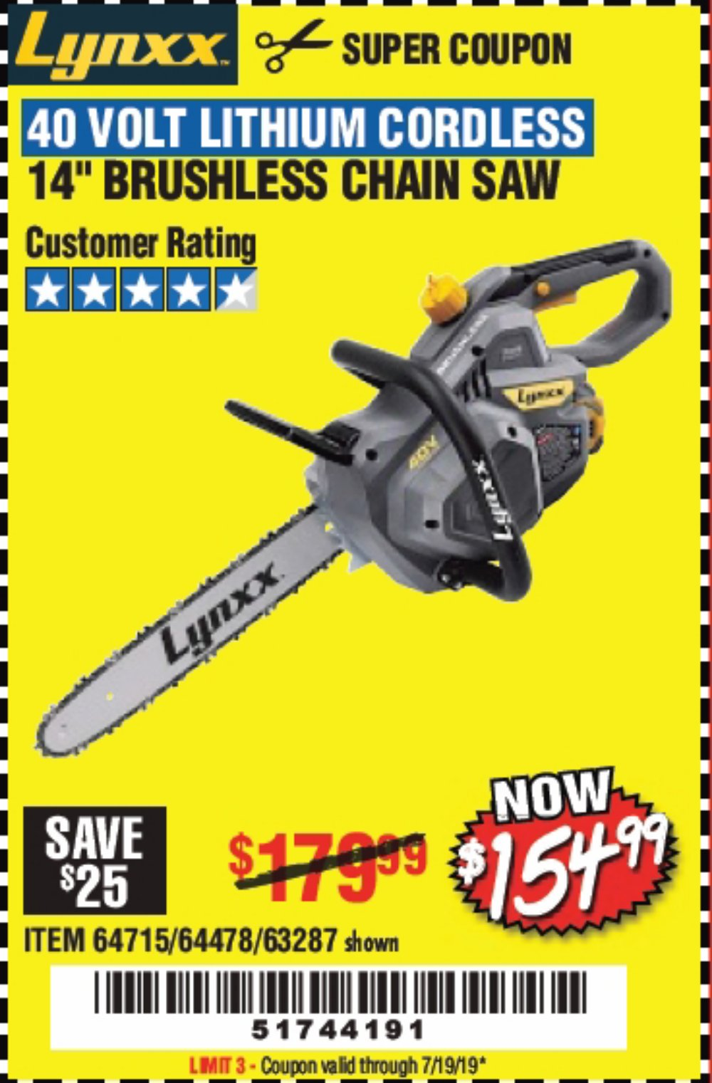 Harbor Freight Coupon, HF Coupons - Lynxx 40 V Lithium Cordless 14