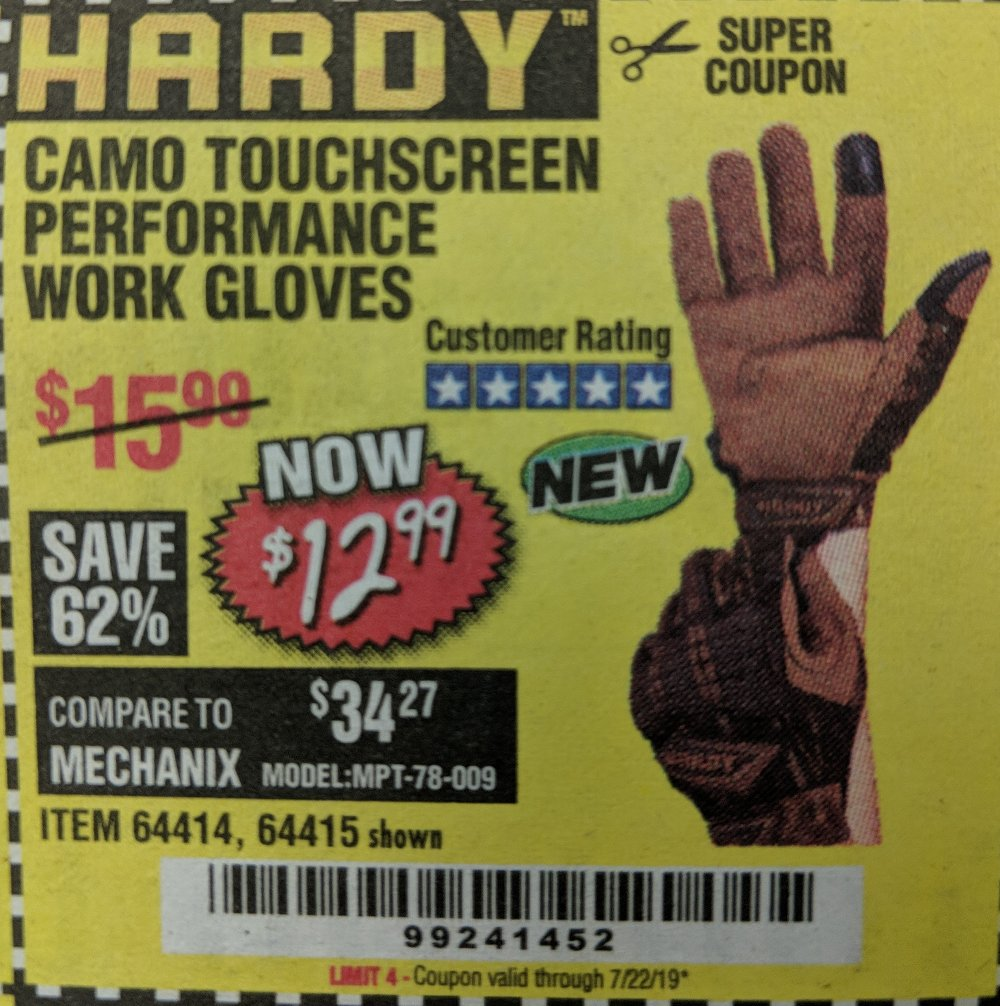 Harbor Freight Coupon, HF Coupons - Hardy Camo Touchscreen Performance Work Gloves