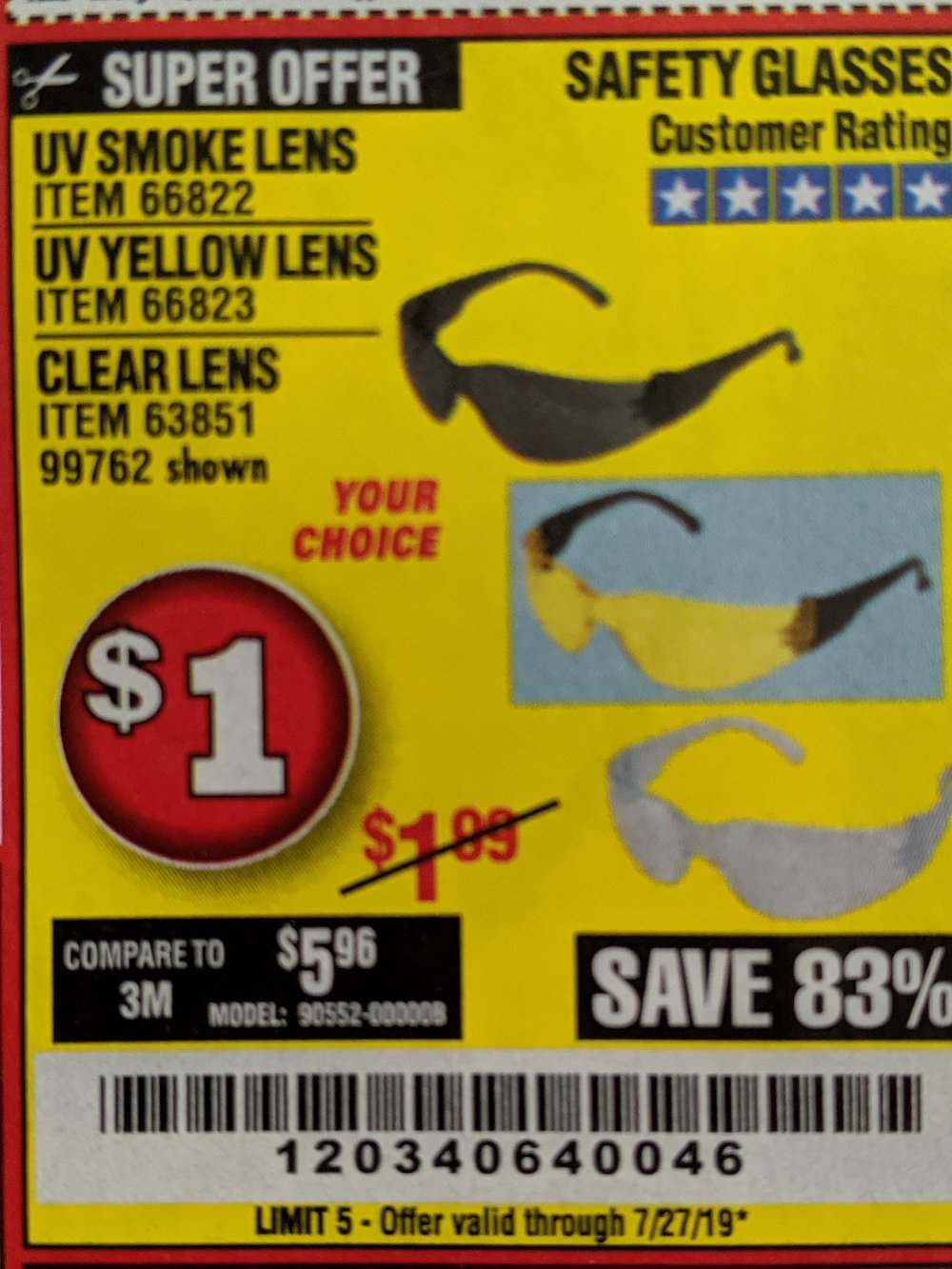 Harbor Freight Coupon, HF Coupons - Clear Lens Safety Glasses