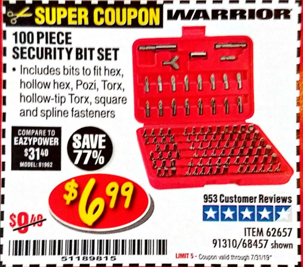 Harbor Freight Coupon, HF Coupons - 100 Piece Security Bit Set